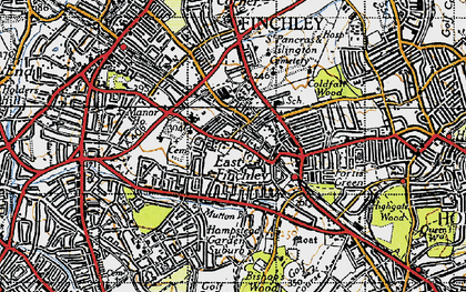 Old map of East Finchley in 1945