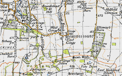 Old map of Ardington Down in 1947