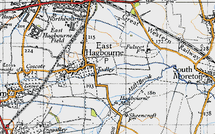 Old map of East Hagbourne in 1947