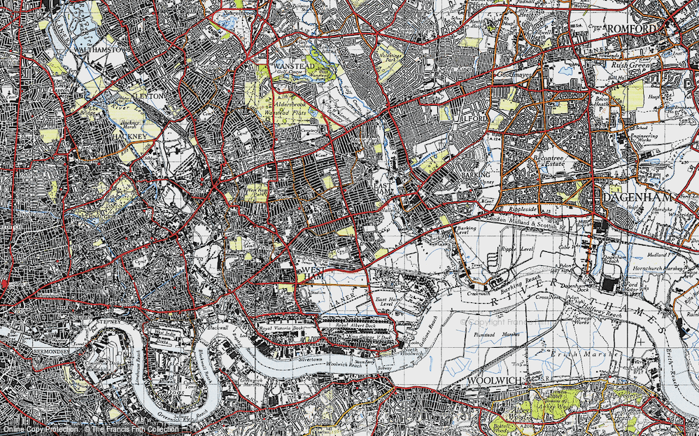 Old Map of East Ham, 1946 in 1946