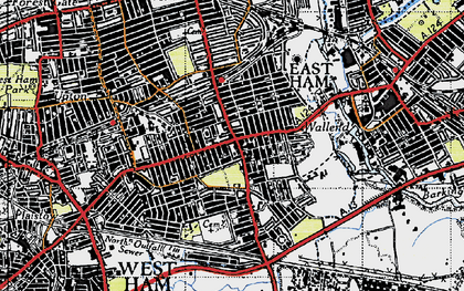 Old map of East Ham in 1946