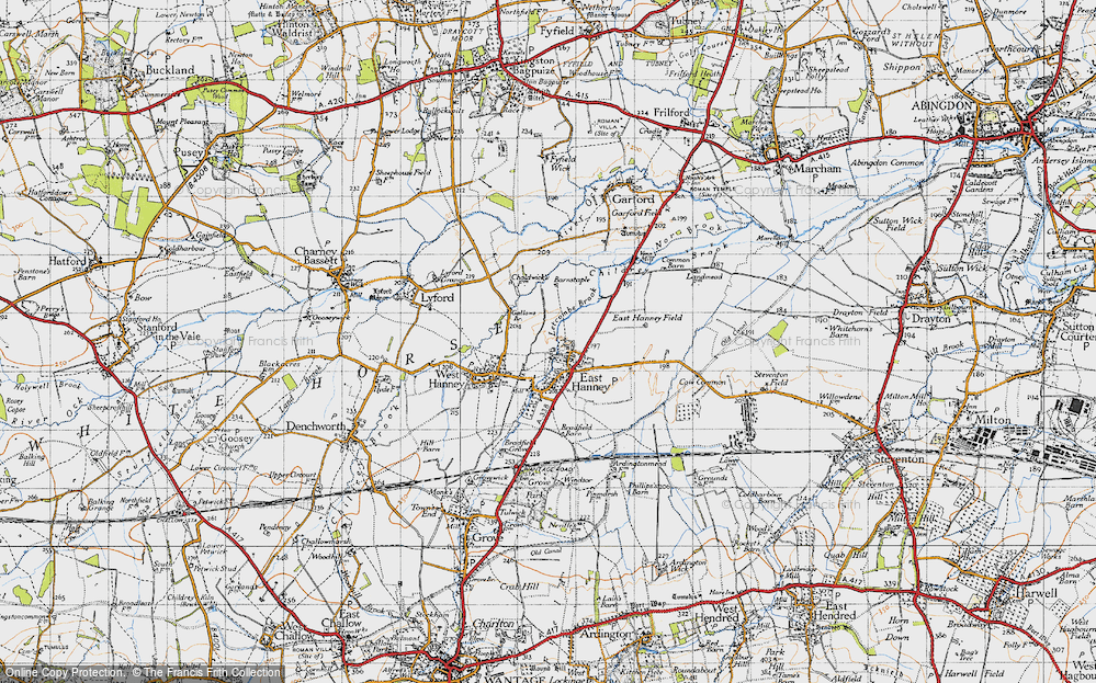 Old Map of Historic Map covering Letcombe Brook in 1947