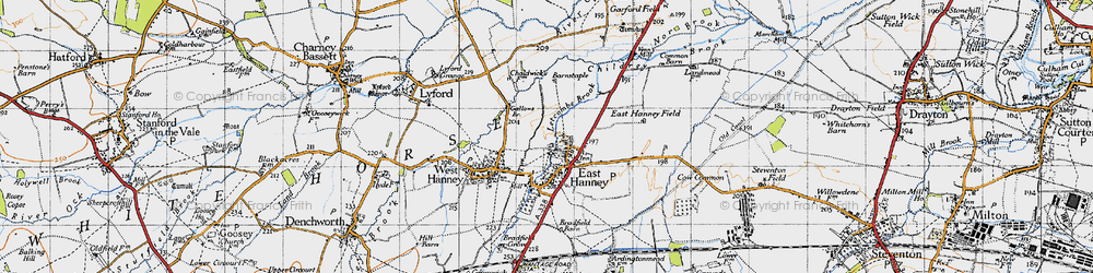 Old map of East Hanney in 1947