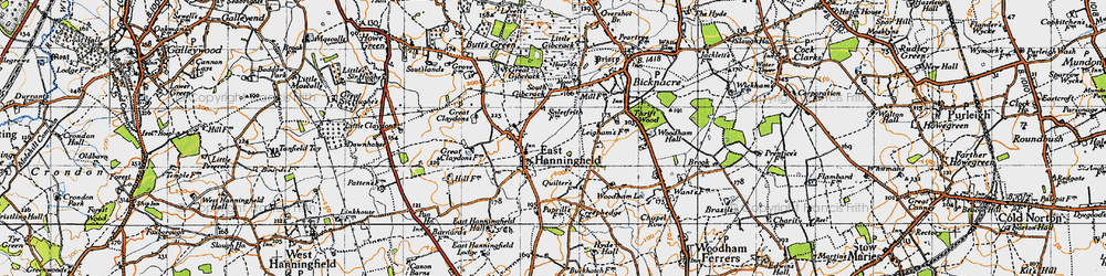 Old map of East Hanningfield in 1945