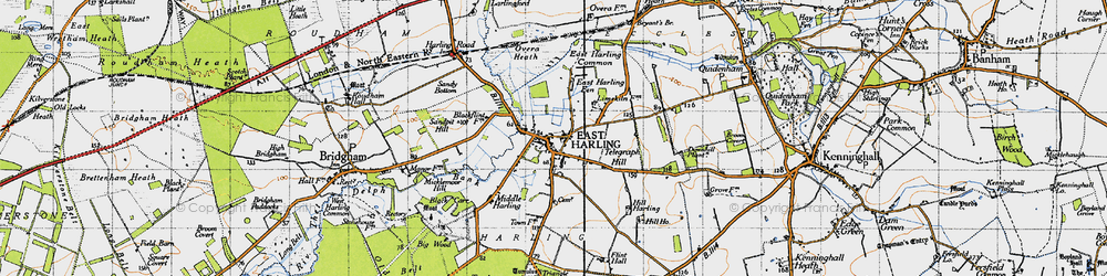 Old map of East Harling in 1946