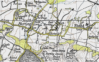 Old map of East Harting in 1945