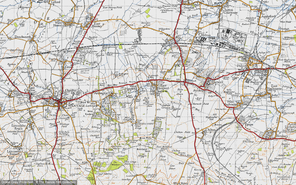 Old Map of Historic Map covering Aldfield Common in 1947