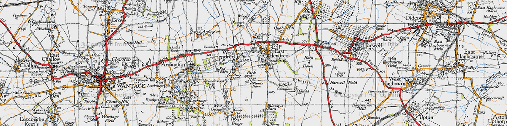 Old map of East Hendred in 1947