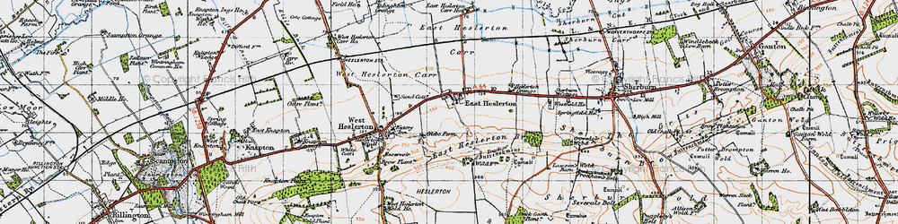 Old map of Westfield Wold in 1947