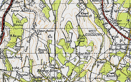 Old map of East Hill in 1946
