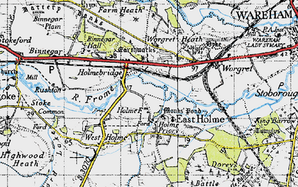 Old map of Worgret Heath in 1940