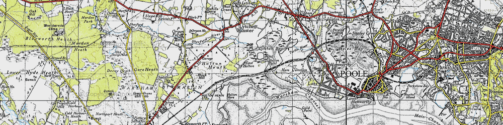 Old map of Wood Bar Looe in 1940