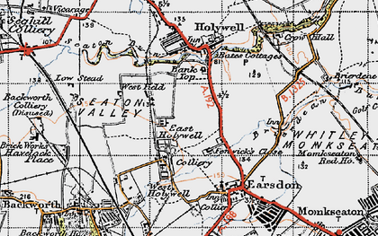 Old map of East Holywell in 1947
