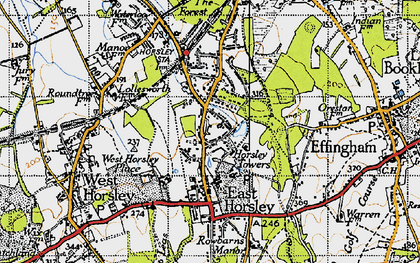 Old map of East Horsley in 1940