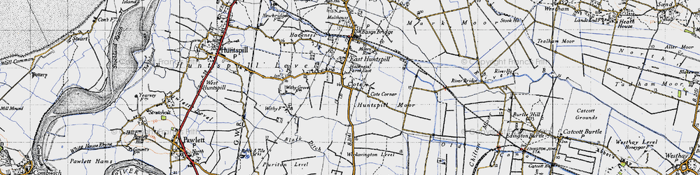 Old map of East Huntspill in 1946