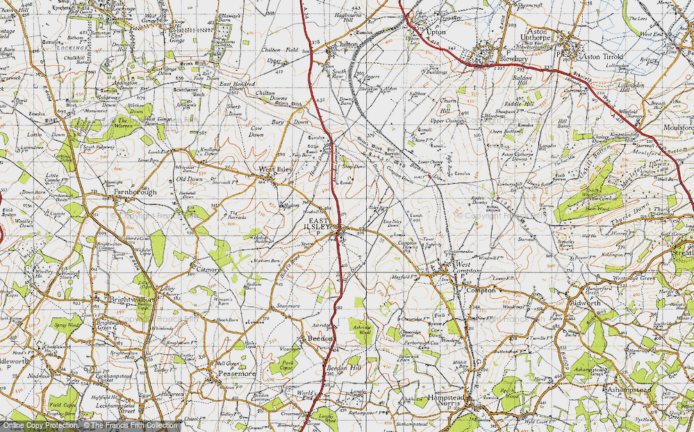 Old Map of Historic Map covering Abingdon Lane Down in 1947