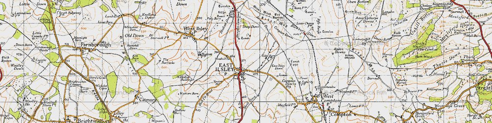 Old map of Abingdon Lane Down in 1947