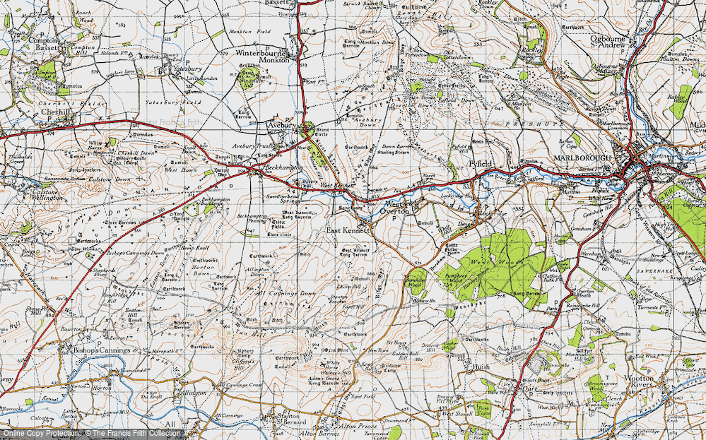 Old Map of Historic Map covering All Cannings Down in 1940