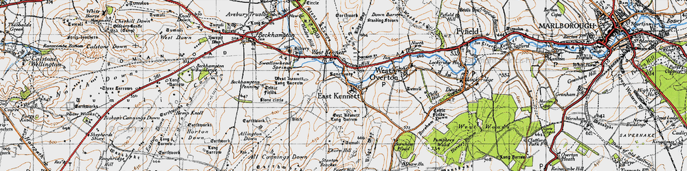 Old map of All Cannings Down in 1940