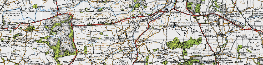 Old map of Wharfe Dale in 1947