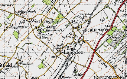 Old map of Langdon Abbey in 1947