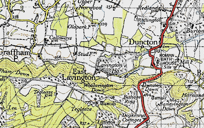 Old map of East Lavington in 1940