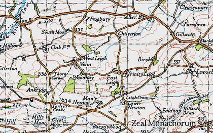 Old map of Leigh Cross in 1946