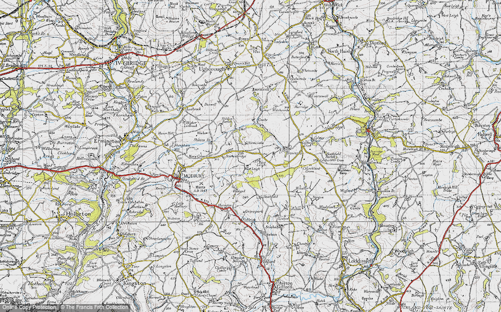 Old Map of Historic Map covering Ayleston Cross in 1946