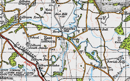 Old map of Lilburn South Steads in 1947