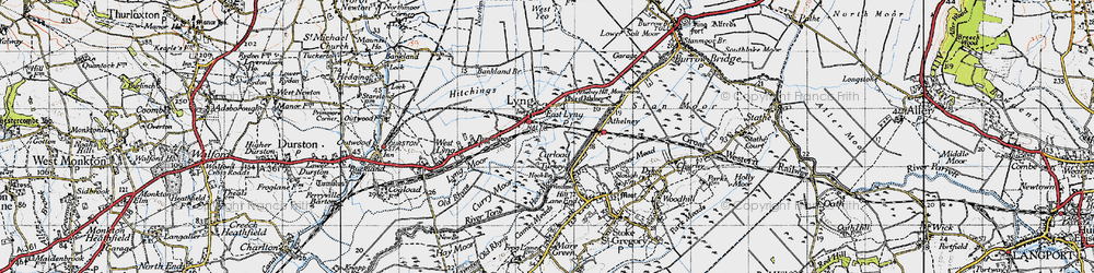 Old map of East Lyng in 1945