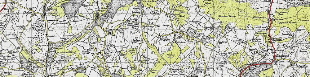 Old map of Wildhams Wood in 1945