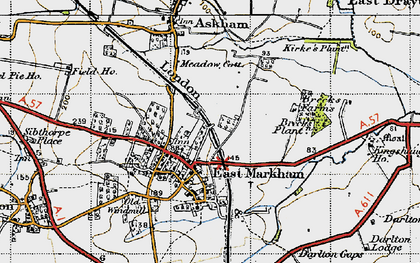 Old map of East Markham in 1947