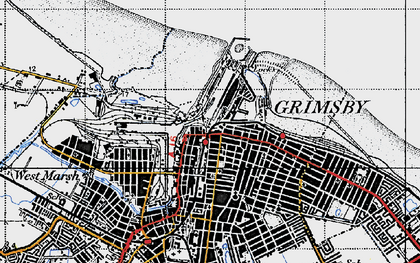 Old map of East Marsh in 1946