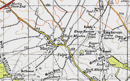Old map of Allen River in 1940