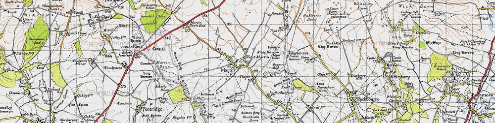 Old map of Allen River in 1940