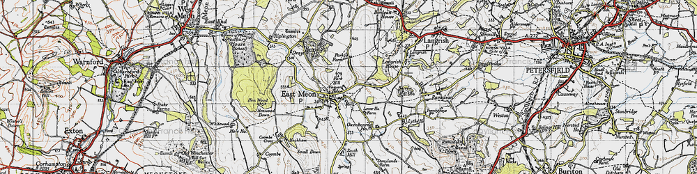 Old map of East Meon in 1945