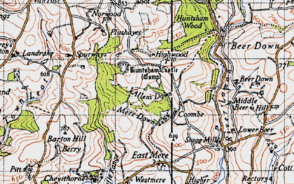 Old map of Allen's Down in 1946