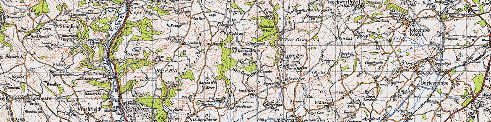 Old map of Allen's Down in 1946