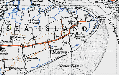 Old map of Wick Marsh in 1945