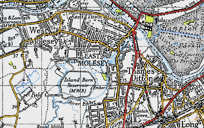 Old map of East Molesey in 1945