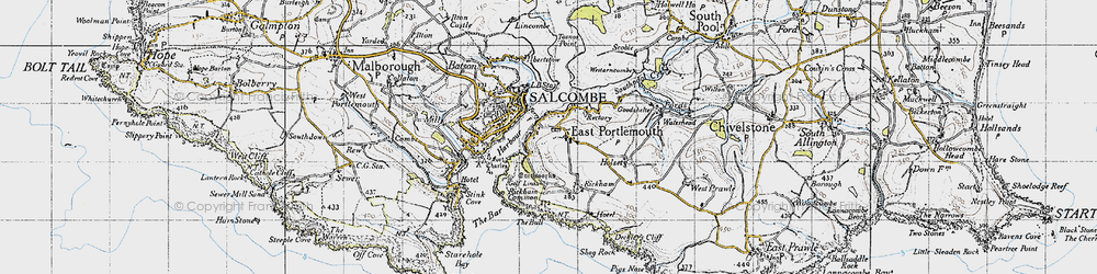 Old map of West Prawle in 1946