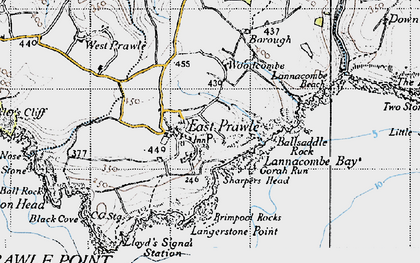 Old map of Ballsaddle Rock in 1946