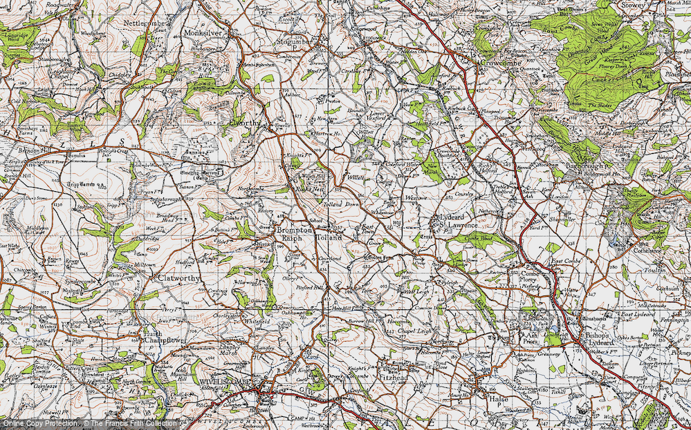 Old Map of Historic Map covering Tolland Down in 1946
