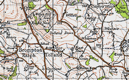 Old map of Tolland Down in 1946