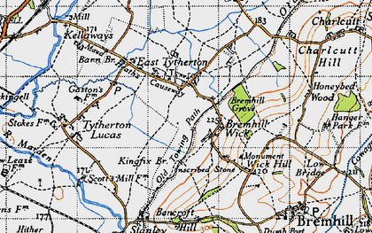 Old map of East Tytherton in 1947