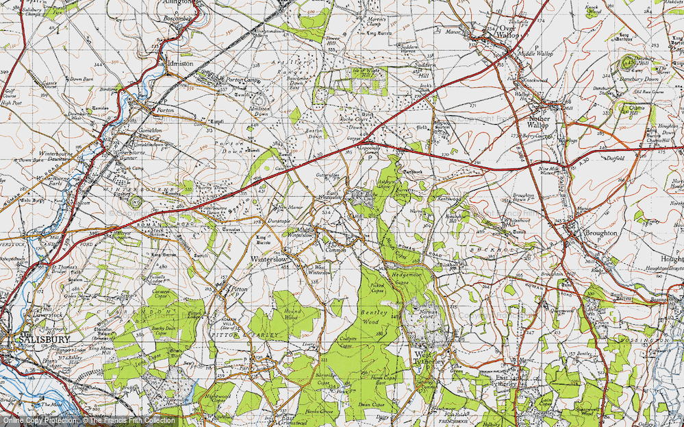 Old Map of Historic Map covering Ashley's Copse in 1940