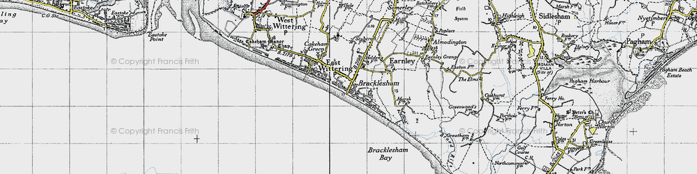 Old map of East Wittering in 1945