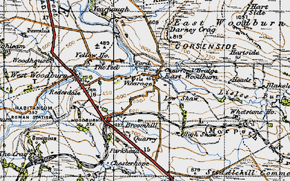 Old map of Whetstone Ho in 1947