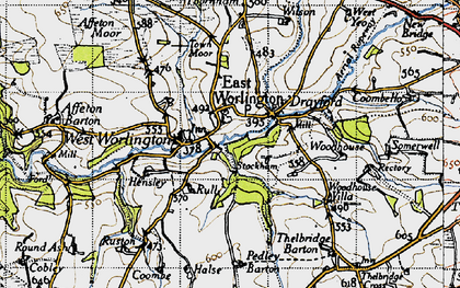 Old map of Adworthy in 1946