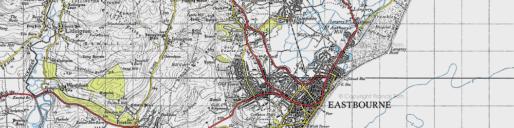 Old map of Eastbourne in 1940